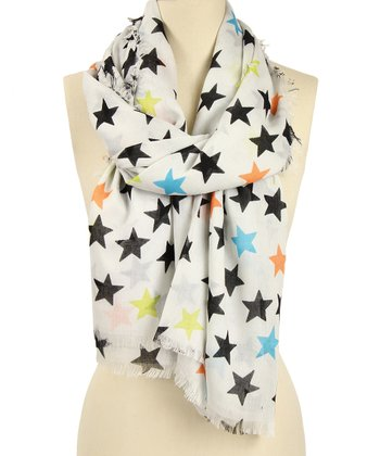 White & Black Star Scarf