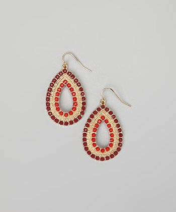 Burgundy & Red Dot Teardrop Earrings