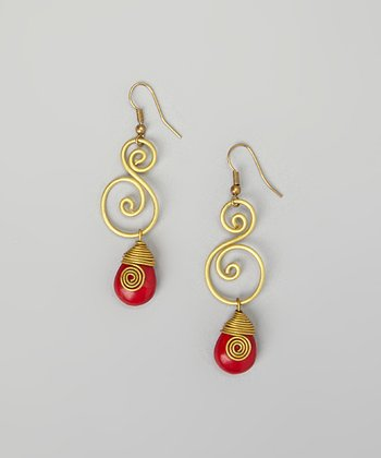 Red Turquoise & Gold Drop Earrings