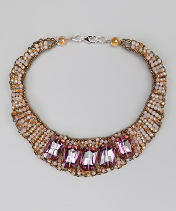 Fuchsia & Orange Bib Necklace