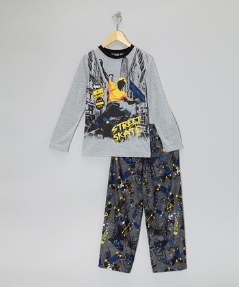 Heather Gray 'Street Skate' Pajama Set - Boys