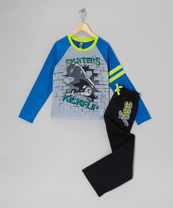 Black 'Skaters Kickflip' Pajama Set - Boys