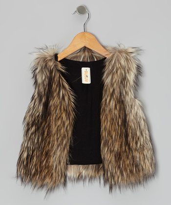 Brown Faux Fur Vest - Toddler & Girls