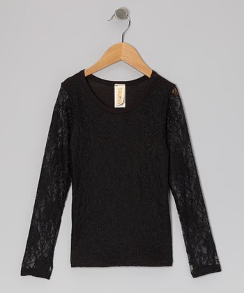 Black Midas Cat Lace Top - Toddler & Girls