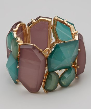 Plum & Turquoise Faceted Stone Stretch Bracelet