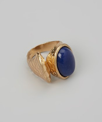 Blue & Gold Stone Ring
