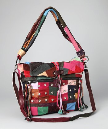 Red & Pink Patchwork Studded Tote