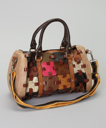 Chestnut & Tan Studded Patchwork Puzzle Satchel