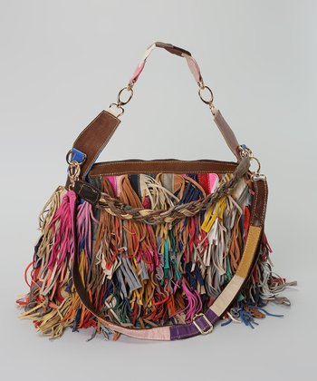 Coral & Blue Stripe Long Fringe Shoulder Bag