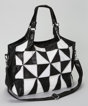Black & White Geometric Colorblock Tote