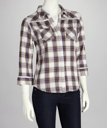 Purple & White Plaid Button-Up