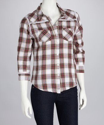 Coral & White Plaid Button-Up