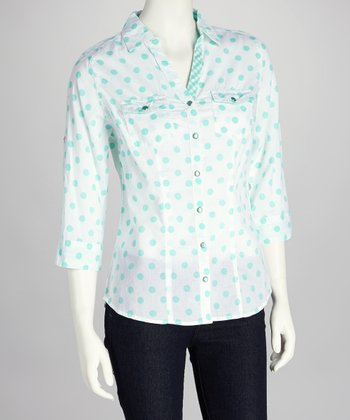 White & Mint Polka Dot Button-Up