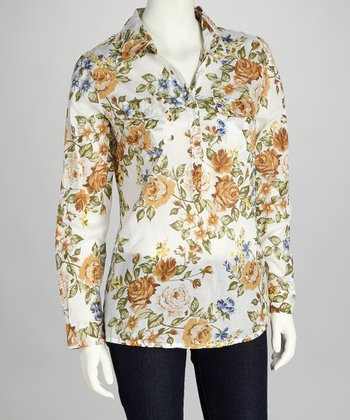 Taupe & Gold Floral Button-Up