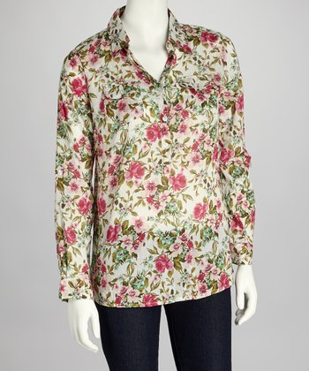 Ivory & Pink Floral Button-Up