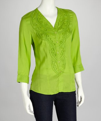 Lime Embroidered Button-Up Tunic