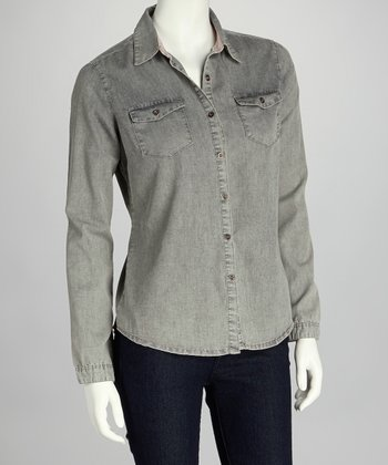 Gray Chambray Button-Up
