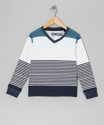 White Stripe Knit V-Neck Tee - Boys