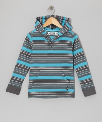 Dark Gray Stripe Knit Hoodie - Toddler & Boys