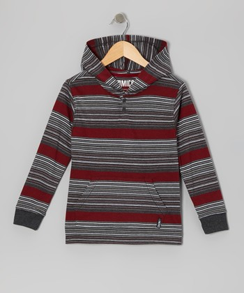 Heather Black Stripe Knit Hoodie - Toddler & Boys