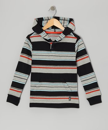 Heather Gray & Black Stripe Knit Hoodie - Boys