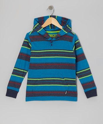 Heather Navy Stripe Knit Hoodie - Boys