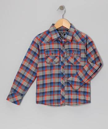 Heather Gray Plaid Woven Button-Up - Toddler & Boys