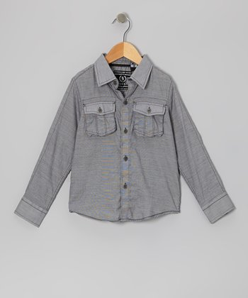 Black Woven Button-Up - Boys