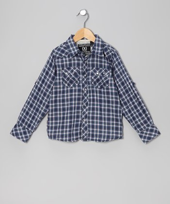Navy Plaid Woven Button-Up - Boys