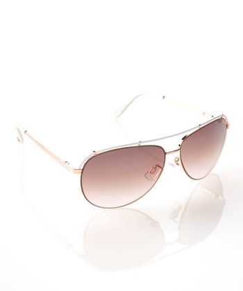 Rose Gold & White In Flight Pilot Sunglasses