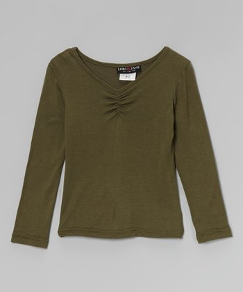 Olive Ruched V-Neck Top