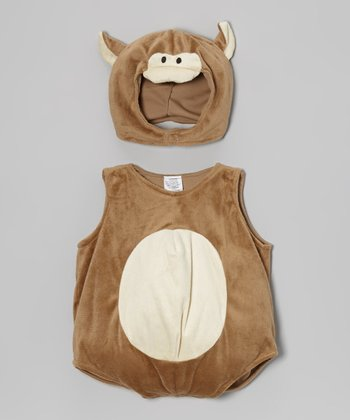 Brown & Tan Monkey Bubble Dress-Up Set - Infant