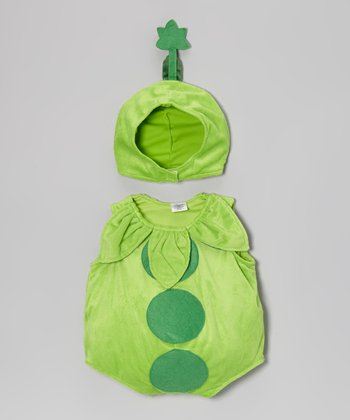 Dark Green Peapod Bubble Dress-Up Set - Infant