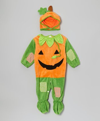 Orange & Green Pumpkin Patch Dress-Up Set - Infant