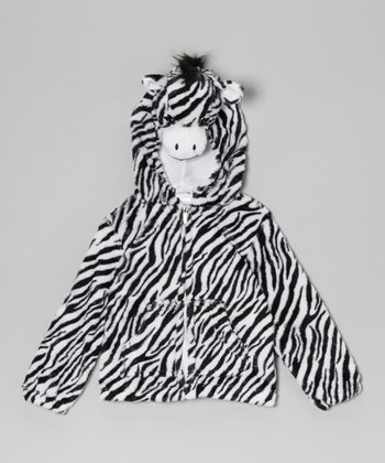 Black & White Zebra Zip-Up Hoodie - Kids