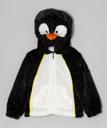 Black & White Penguin Zip-Up Hoodie - Kids