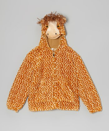 Tan Giraffe Zip-Up Hoodie - Kids