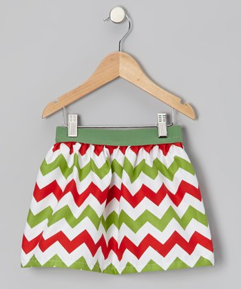 Red & Green Zigzag Skirt - Infant, Toddler & Girls
