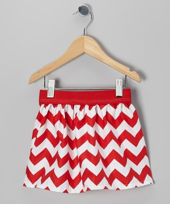 Red & White Zigzag Skirt - Infant, Toddler & Girls