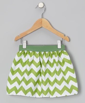 Green & White Zigzag Skirt - Infant, Toddler & Girls