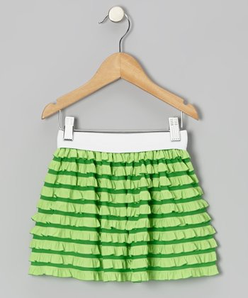 Green Stripe Ruffle Skirt - Infant, Toddler & Girls