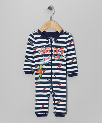 Navy Stripe 'Super Crew' Playsuit - Infant
