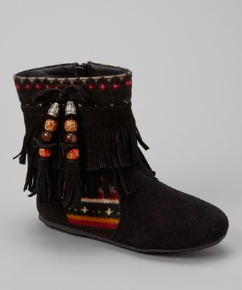 Black Beaded Katherine Fringe Boot