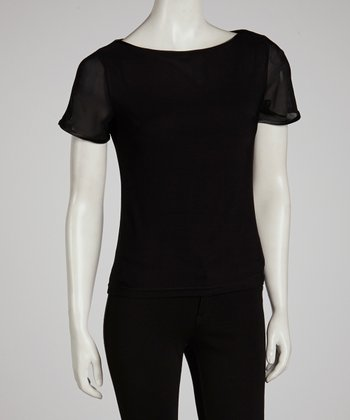 Black Ribbon-Trim Tee
