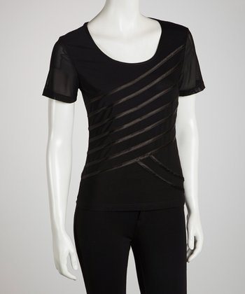 Black Diagonal Ribbon Tee