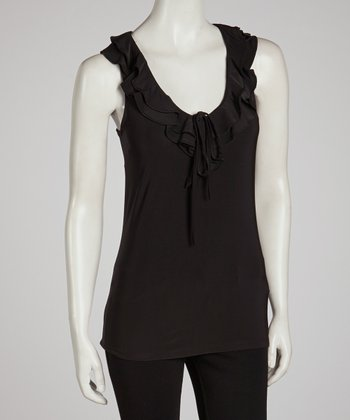 Black Ruffle V-Neck Tank