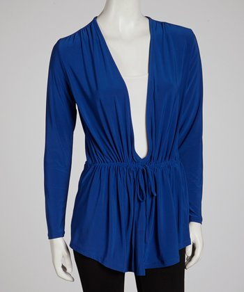 Royal Blue Tie-Front Tunic