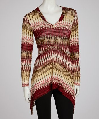 Yellow & Red Zigzag Sidetail Tunic