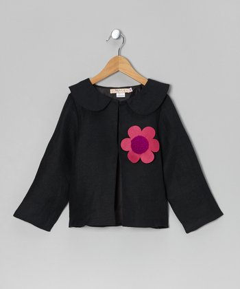 Black Flower Linen Jacket - Toddler & Girls