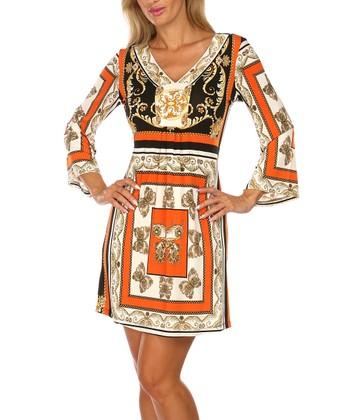 Orange & Black Butterfly V-Neck Dress